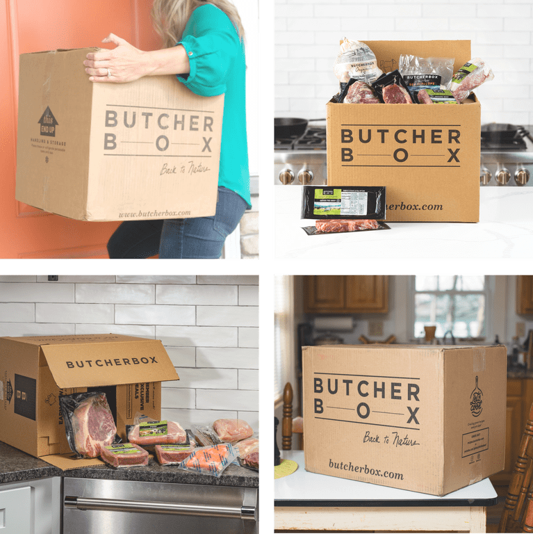 Vignettes of ButcherBox boxes held by people and sitting on kitchen counters