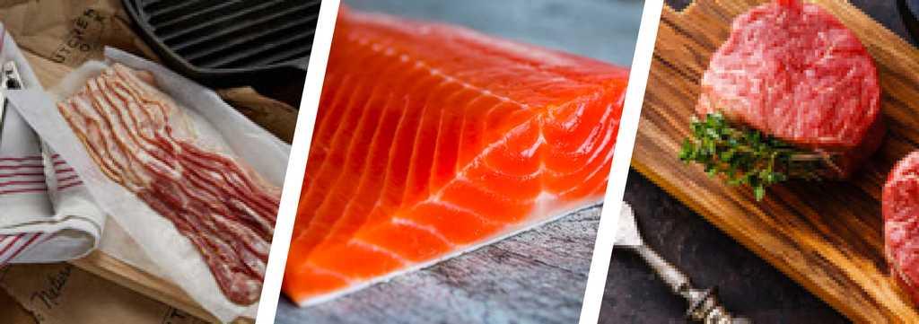 Three vignettes of ButcherBox products: bacon, wild-caught Alaskan salmon, and filet mignon.
